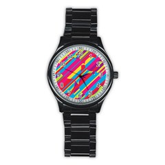 Colorful summer pattern Stainless Steel Round Watch