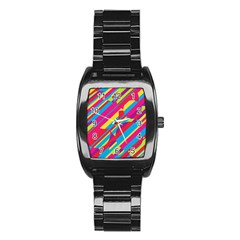 Colorful summer pattern Stainless Steel Barrel Watch