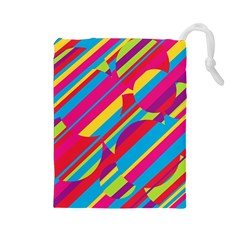 Colorful summer pattern Drawstring Pouches (Large)