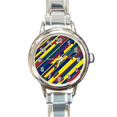 Colorful pattern Round Italian Charm Watch