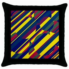 Colorful pattern Throw Pillow Case (Black)