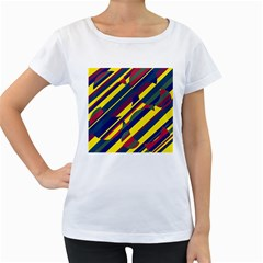 Colorful pattern Women s Loose-Fit T-Shirt (White)
