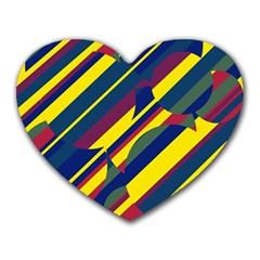 Colorful pattern Heart Mousepads