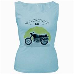 Vintage Watercolor Motorcycle Women s Baby Blue Tank Top
