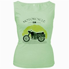 Vintage Watercolor Motorcycle Women s Green Tank Top