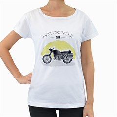 Vintage Watercolor Motorcycle Women s Loose-Fit T-Shirt (White)
