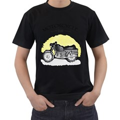 Vintage Watercolor Motorcycle Men s T-Shirt (Black)