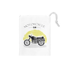 Vintage Watercolor Motorcycle Drawstring Pouches (Small)
