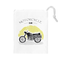 Vintage Watercolor Motorcycle Drawstring Pouches (Large)