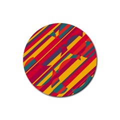 Colorful hot pattern Rubber Round Coaster (4 pack)