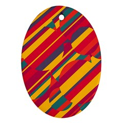 Colorful hot pattern Oval Ornament (Two Sides)
