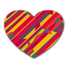 Colorful hot pattern Heart Mousepads