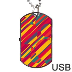 Colorful hot pattern Dog Tag USB Flash (One Side)