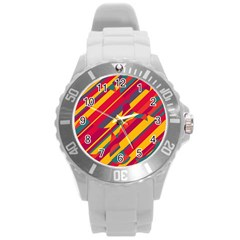 Colorful hot pattern Round Plastic Sport Watch (L)