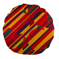 Colorful hot pattern Large 18  Premium Round Cushions