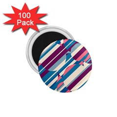 Blue and pink pattern 1.75  Magnets (100 pack)