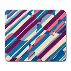 Blue and pink pattern Large Mousepads