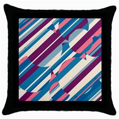 Blue and pink pattern Throw Pillow Case (Black)