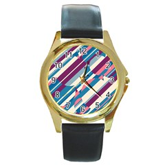 Blue and pink pattern Round Gold Metal Watch