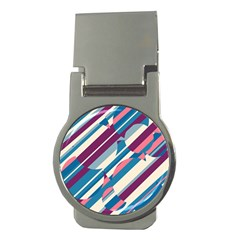 Blue and pink pattern Money Clips (Round)