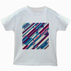 Blue and pink pattern Kids White T-Shirts