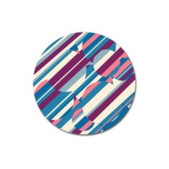 Blue and pink pattern Magnet 3  (Round)