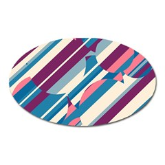Blue and pink pattern Oval Magnet