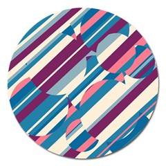 Blue and pink pattern Magnet 5  (Round)