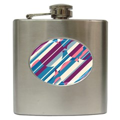 Blue and pink pattern Hip Flask (6 oz)