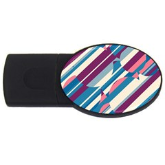 Blue and pink pattern USB Flash Drive Oval (1 GB)