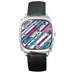 Blue and pink pattern Square Metal Watch