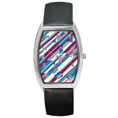 Blue and pink pattern Barrel Style Metal Watch