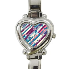 Blue and pink pattern Heart Italian Charm Watch