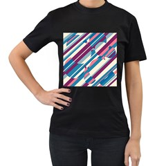 Blue and pink pattern Women s T-Shirt (Black) (Two Sided)