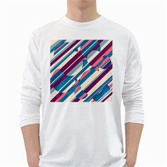 Blue and pink pattern White Long Sleeve T-Shirts