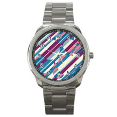 Blue and pink pattern Sport Metal Watch