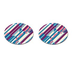 Blue and pink pattern Cufflinks (Oval)