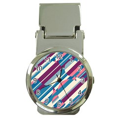 Blue and pink pattern Money Clip Watches