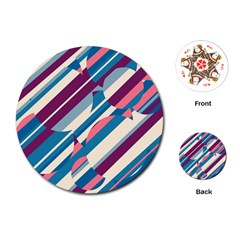 Blue and pink pattern Playing Cards (Round)