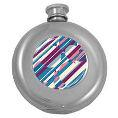 Blue and pink pattern Round Hip Flask (5 oz)