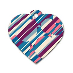 Blue and pink pattern Dog Tag Heart (Two Sides)
