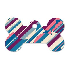 Blue and pink pattern Dog Tag Bone (Two Sides)