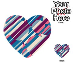Blue and pink pattern Multi-purpose Cards (Heart)