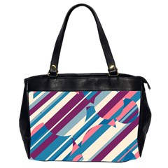 Blue and pink pattern Office Handbags (2 Sides)