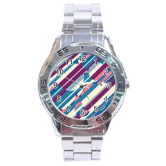 Blue and pink pattern Stainless Steel Analogue Watch
