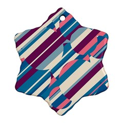 Blue and pink pattern Snowflake Ornament (2-Side)