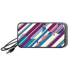 Blue and pink pattern Portable Speaker (Black)