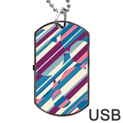Blue and pink pattern Dog Tag USB Flash (One Side)