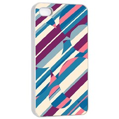 Blue and pink pattern Apple iPhone 4/4s Seamless Case (White)