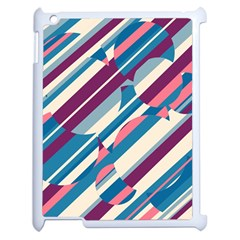 Blue and pink pattern Apple iPad 2 Case (White)